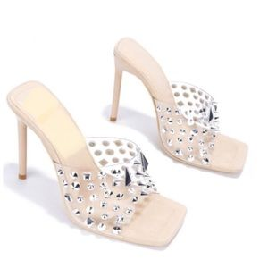 Shoes - !! NEW !! Clear Studded Mules in Nude